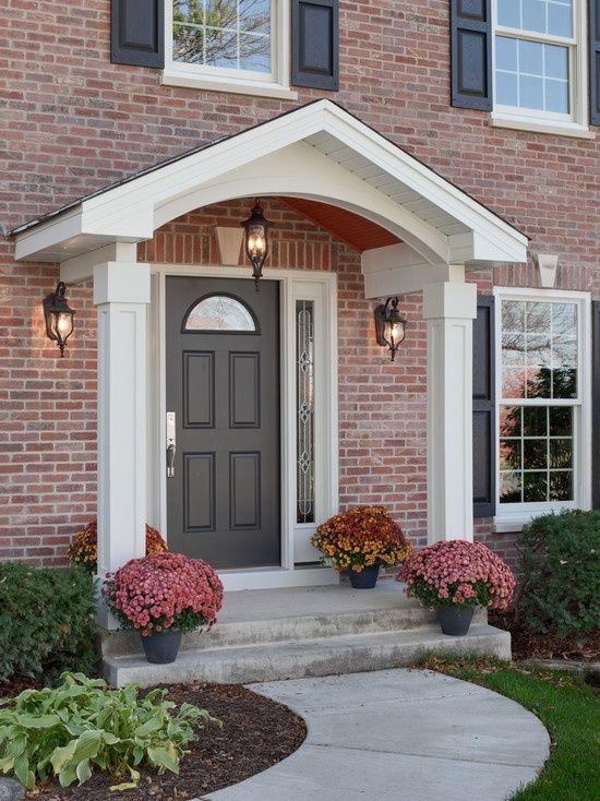 17 best images about portico designs on pinterest porch for Front door roof designs