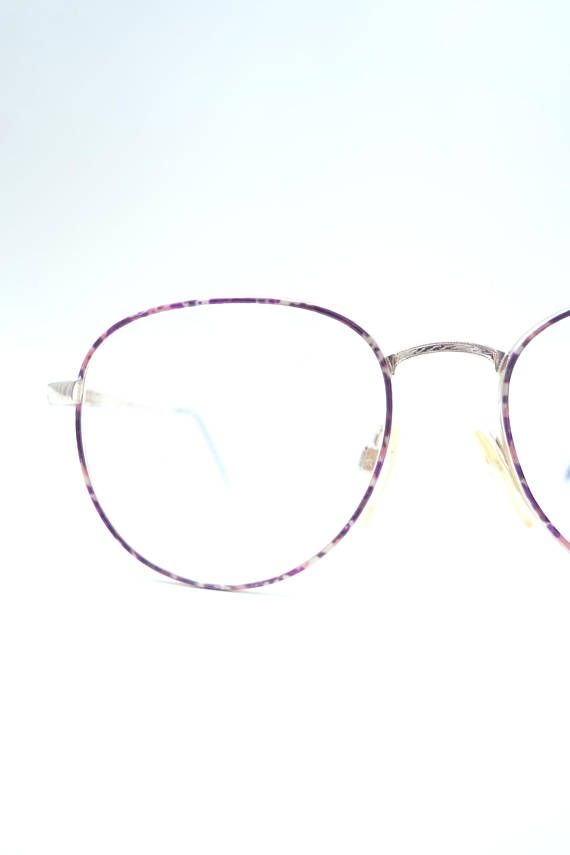 fa6018509f76 Round Purple Glasses Womens 1980s Oversized Geek Chic