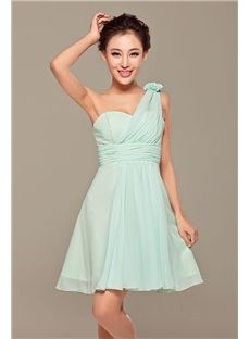 Charming A-line Short/mini One-shoulder Zipper-up Flowers Empire Bridesmaid Dress & unusual Bridesmaid Dresses