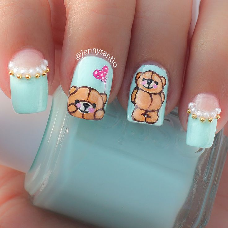 cute teddy bear nails