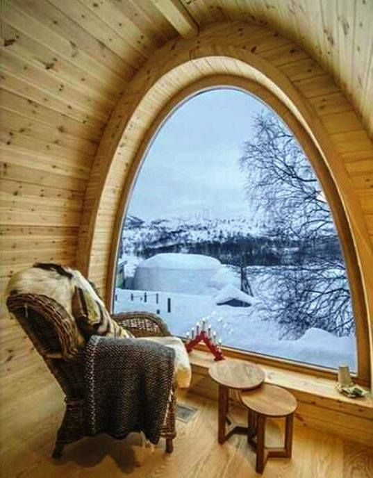 I would love to have a large room with a very high ceiling that goes up to a point in the center. Directly under it would be a large teepee with this window just outside. It would be a space to have for quiet alone time - or for drumming!