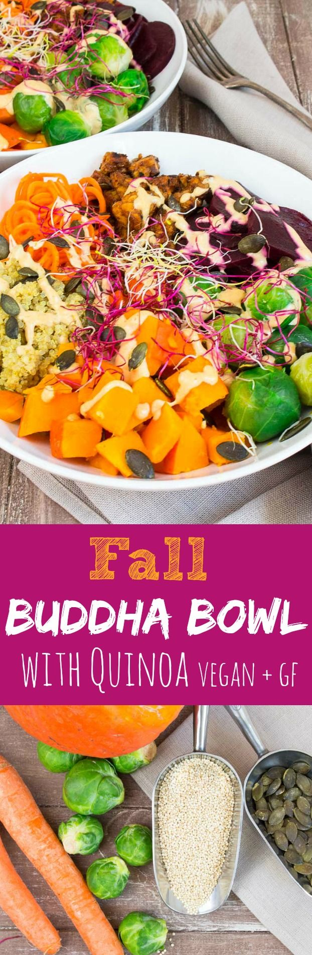 This fall buddha bowl with quinoa and pumpkin is comforting, super healthy, packed with flavor, gluten free, and vegan!