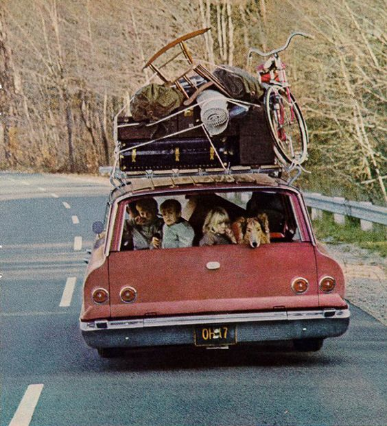 Family Roadtrip | HabitatKid blog, my grandparents owned a blue station wagon...and we'd go to the beach all piled up in the back without wearing seat belts ha!