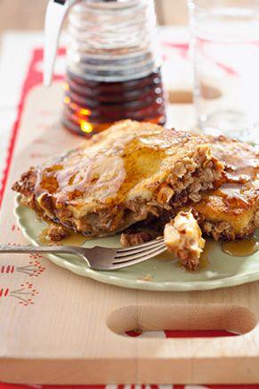 Paula Deen's peanut butter banana stuffed french toast. I MUST make this!
