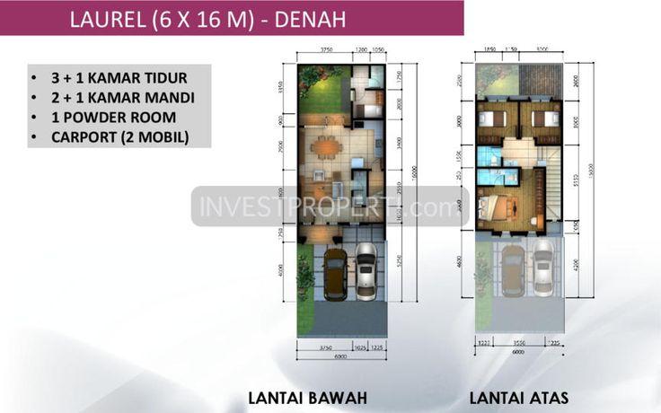 Denah Tipe Laurel 6x16 cluster Leora Alam Sutera #clusterleora