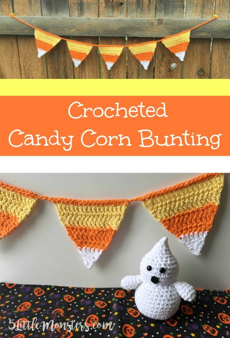 A candy corn bunting makes a cute halloween decoration, or make the individual triangles to use as coasters.