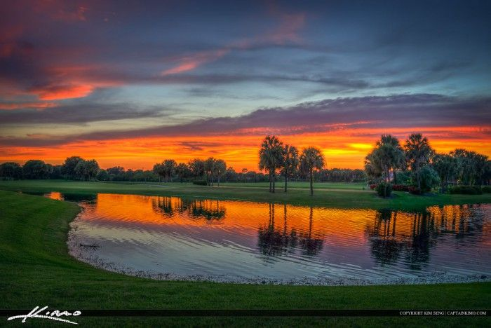 The Abacoa Golf course at sunset along the lake in Jupiter, Florida. HDR image created in Photomatix Pro and Topaz software.