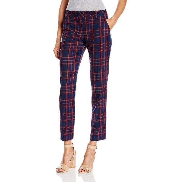 Trina Turk Women's Slim Aubree Modern Tartan Plaid Pant ($156) ❤ liked on Polyvore featuring pants, slim trousers, white straight leg pants, straight leg trousers, plaid pants and white slim pants