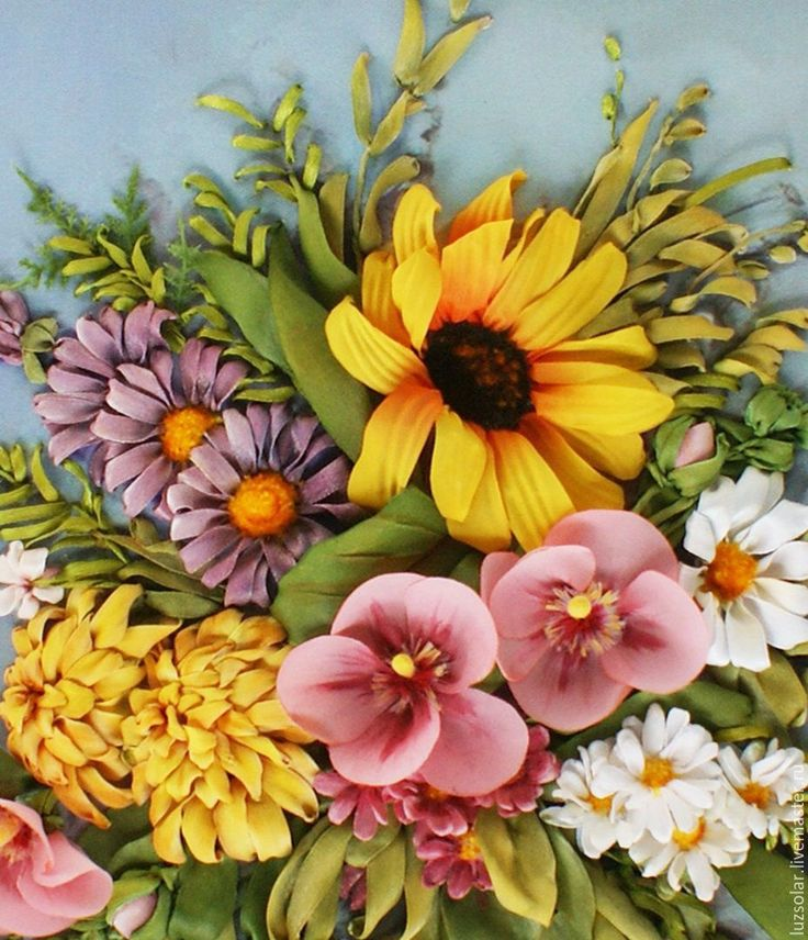 Купить Картина лентами Букет с подсолнухом 30 х 40 см - желтый, подсолнух