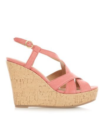 Coral Leather Strappy Cork Wedges