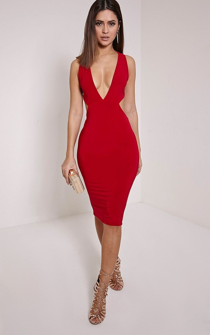 Biddy Red Deep V Plunge Cross Back Midi Dress