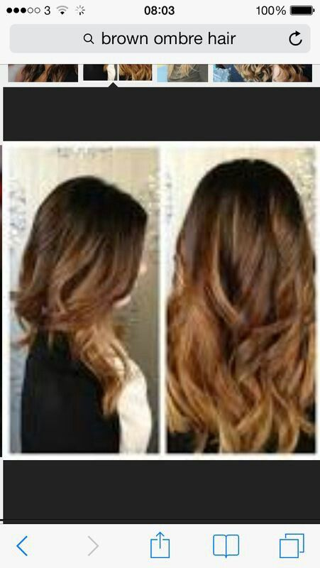 Dark brown into light brown ombre