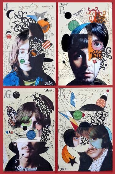 "Saatchi Art Artist LOUI JOVER; Beatles Collage, ""DECONSTRUCTED FAB 4"" #art"