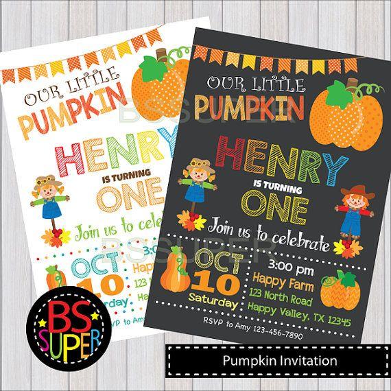 Our Little Pumpkin Invitation Pumpkin 1st Birthday Pumpkin