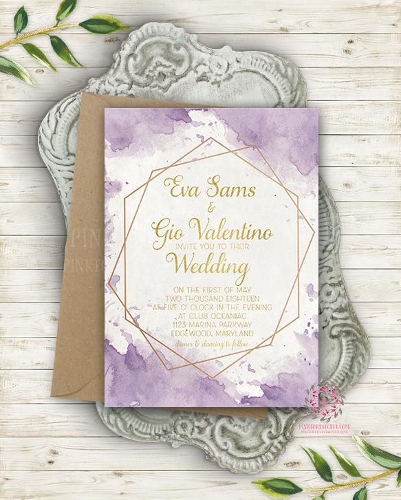 Geometric Purple Gold Wedding Invite Invitation Polygon Bridal