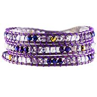 FRENCH VIOLET CRYSTAL BEADED WRAP Beads in deep tones of violet make the French Violet Crystal Beaded Wrap irresistible. Add it as an accent piece to your favorite T-shirt and jeans.