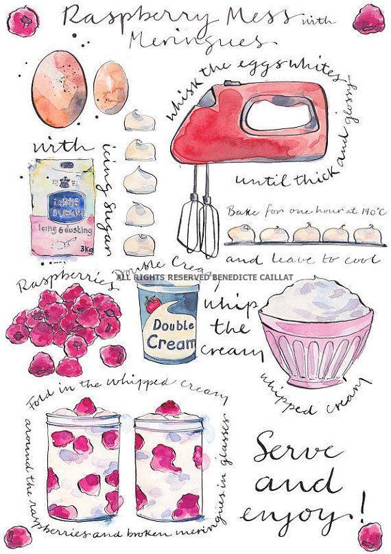 Raspberry Mess con Meringhe Stampa Ricetta artistica di inchiostro originale e acquerelli Illustrazione