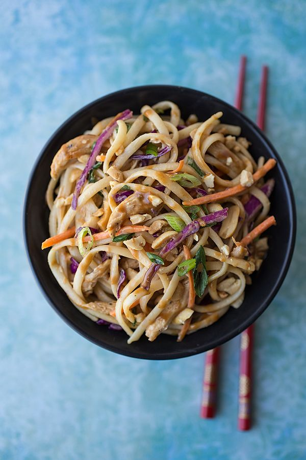 Asian Peanut Noodle Salad with Chicken in a Sweet-Spicy Peanut Sauce ...