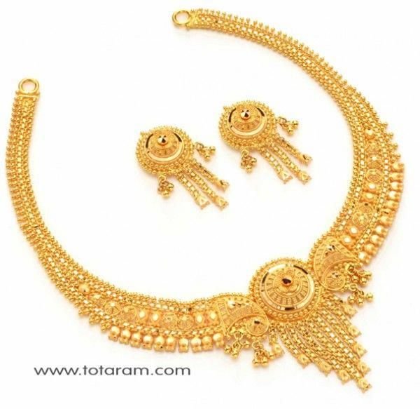 22 Karat Gold Necklace Set With Earrings 235 Gs137 This Latest Indian Jewelry Design In 35 500 Grams For A Low Price Of 1 986 49