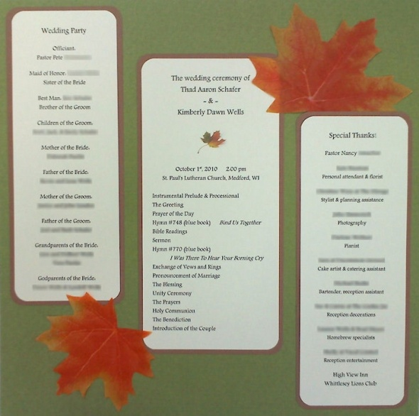 I Created My Own Tri Fold Bulletins For The Ceremony Once The Schedule Was Set I Was Able To