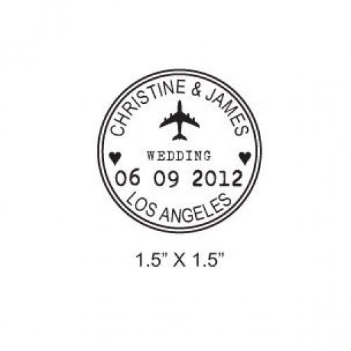 Custom Airplane Wedding Passport Save the Date Rubber Stamp AD173 | Maidenearth - Hand Assembled on ArtFire