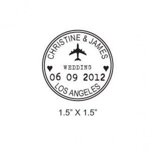 Custom Airplane Wedding Passport Save the Date Rubber Stamp AD173 | Maidenearth - Hand Assembled on ArtFire