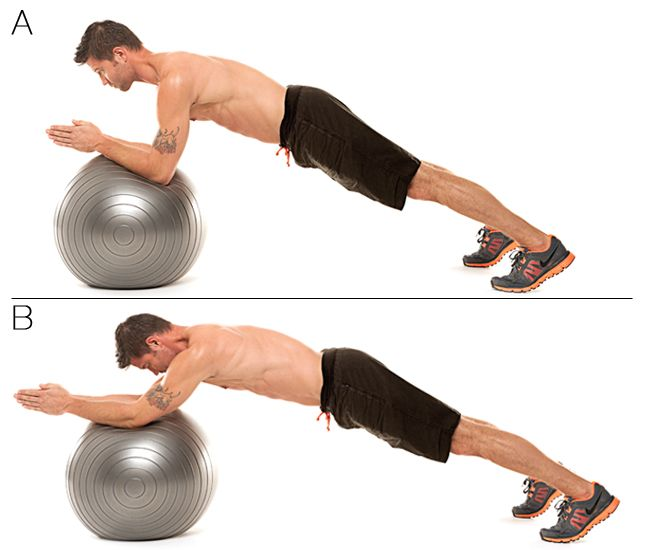 Stability Ball Rollout:    A. Start in plank position with forearms on stability ball, palms together, fingers pointing forward.    B. Engage abs and press arms forward until straight, rolling ball towards body, keeping back flat (as shown). Bend elbows to roll ball back to start for one rep. Do 10 reps. #exercise #Reliv