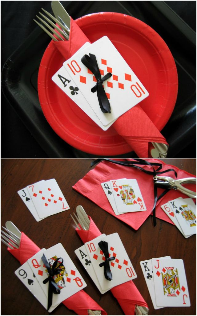 Someting like this except no paper plates obvi.  What if the cards had their names written on the back?  Assigned seats?