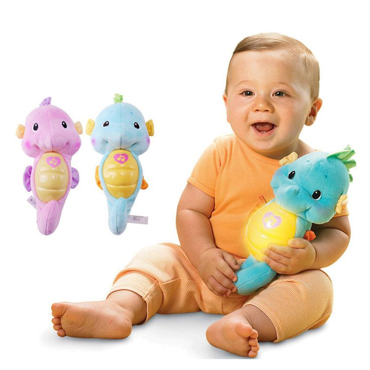 BABELEMI Seahorse Shaped Light and Music Baby Antenatal Training Plush Toys Help Sleep Plushs
