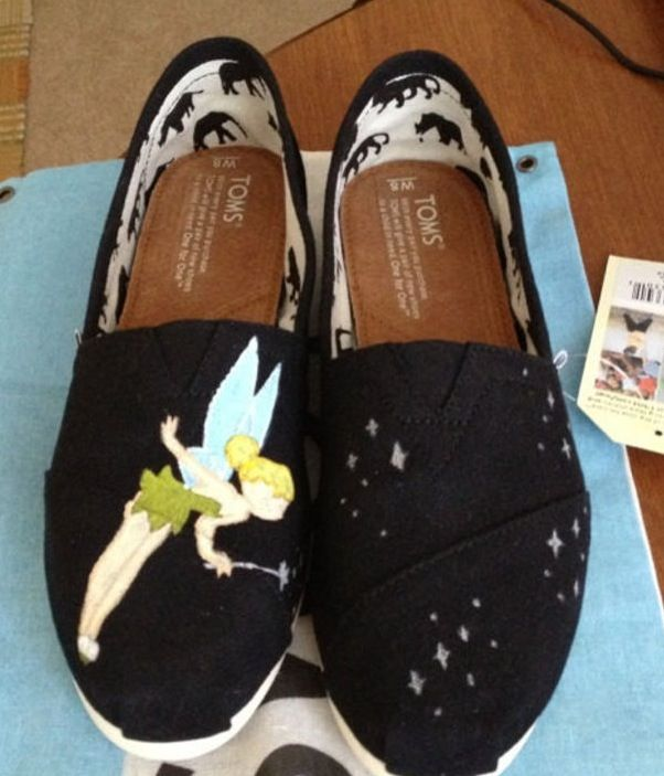DIY Tinkerbell toms All you need is toms or cheap knock offs Paint, acrylic is preferable  And sealant to make it water proof and not crack.  Tinkerbell is the best