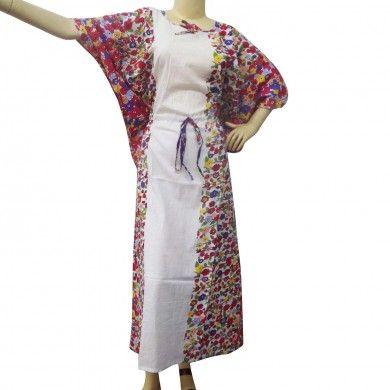 White Color Swim Cover Women Short Cotton Batwing Sleeve Kaftan Caftan Sz M