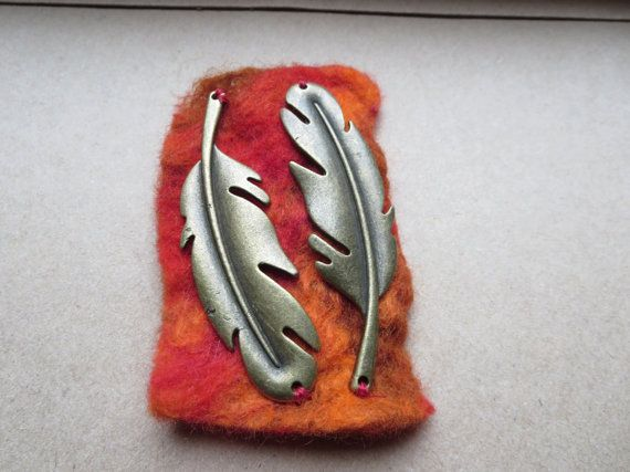 Feather Felt Brooch Bronze Feather Brooch Red by KBrownJewellery