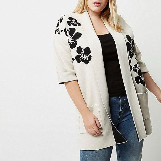Cardigan Plus en maille motif fleuri noir et blanc - Cardigans - Maille - Femme