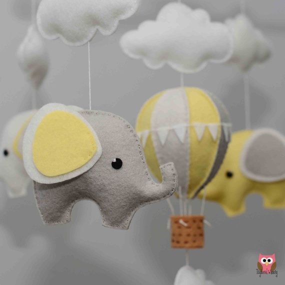 Elephant Mobile - Hot Air Balloon Mobile - Custom Mobile (not ready made) - Ships in 4-6 Weeks                                                                                                                                                                                 More