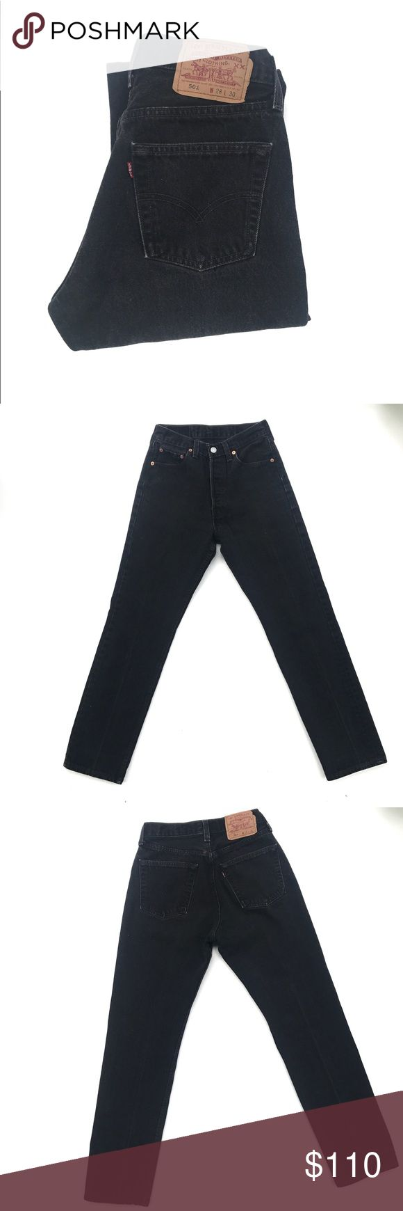 """Vintage Levi 501 Some  stonewash black Levi 501 that everyone either owns or trying to get their hands on. The tag says W28 L30 but vintage rubs smaller. 25""""-26"""" waist, 11""""rise and 28.5"""" inseam. Levi's Jeans Straight Leg"""