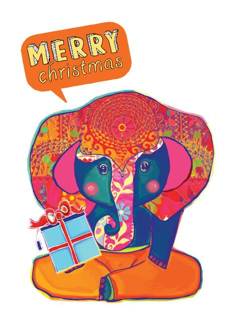 Merry Christmas an a Happy New Year Card with by PulikiAndFriends, $3.00