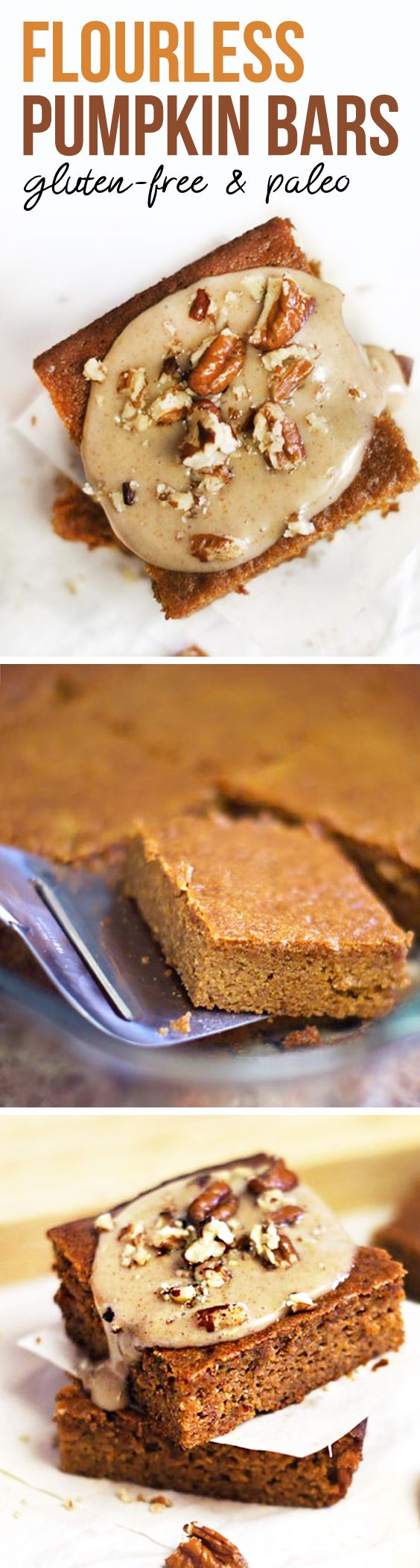 These FLOURLESS pumpkin bars are so moist and fluffy! They're naturally gluten-free, made with almond butter and honey, for a healthier baked treat.