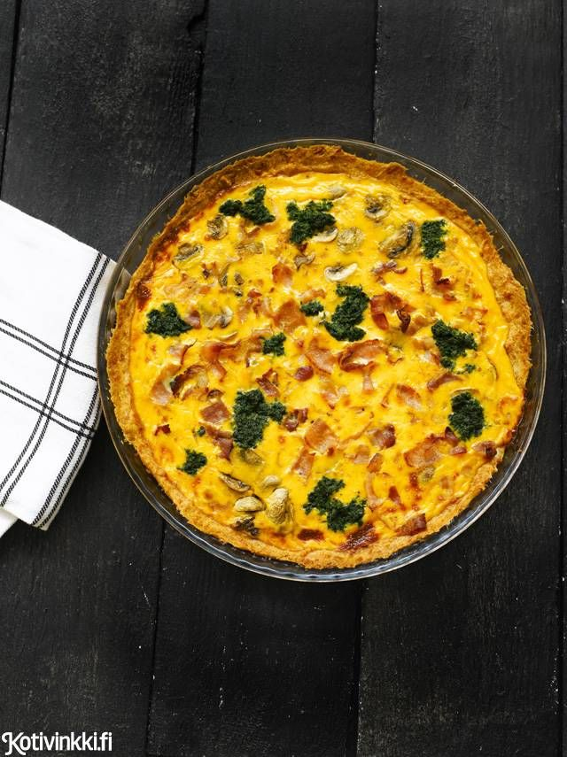 Pinaatti-pekonipiirakka | Kotivinkki Text: Marja Samuli Pic: Sanna Peurakoski #pie #bacon #spinach