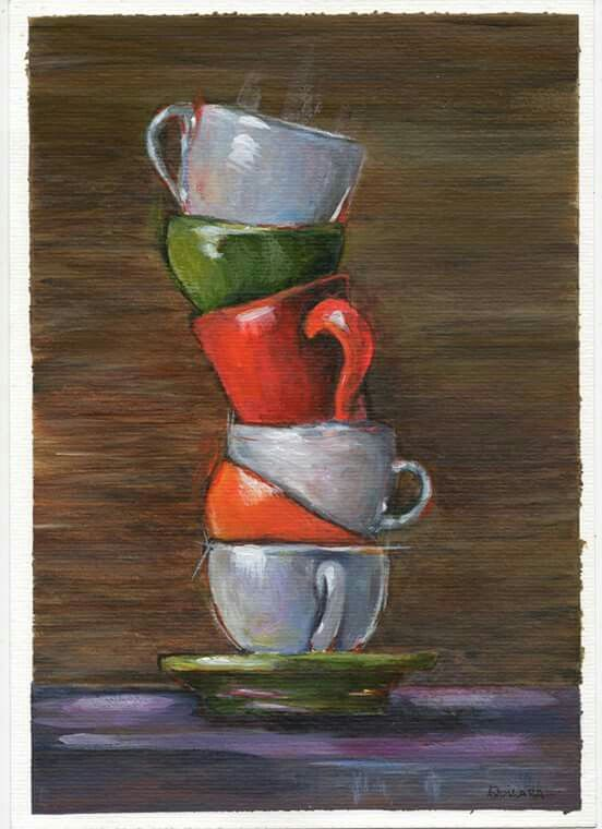 """""""Study of 6 cups"""". Acrylic on paper (A4; 300 g/m2).  Art work by Quilara.  Reference: Cathleen Rehfeld."""