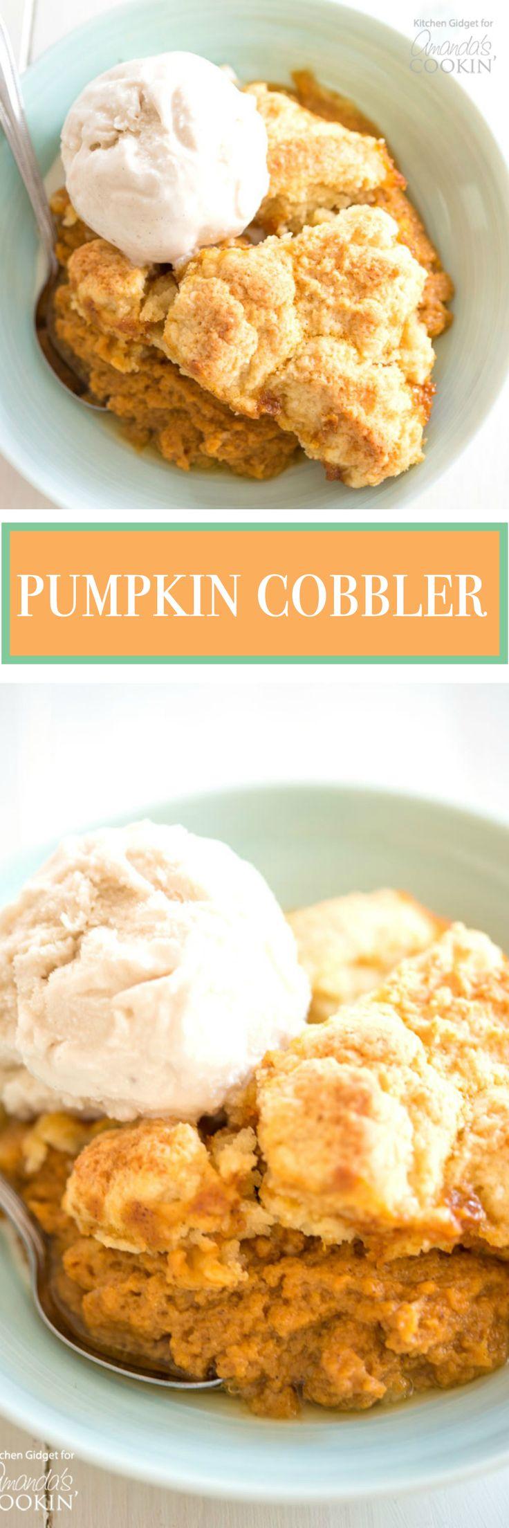 Pumpkin Cobbler: A pumpkin spice custard base with a flaky cobbler topping is the perfect no-fuss dessert for the fall season.