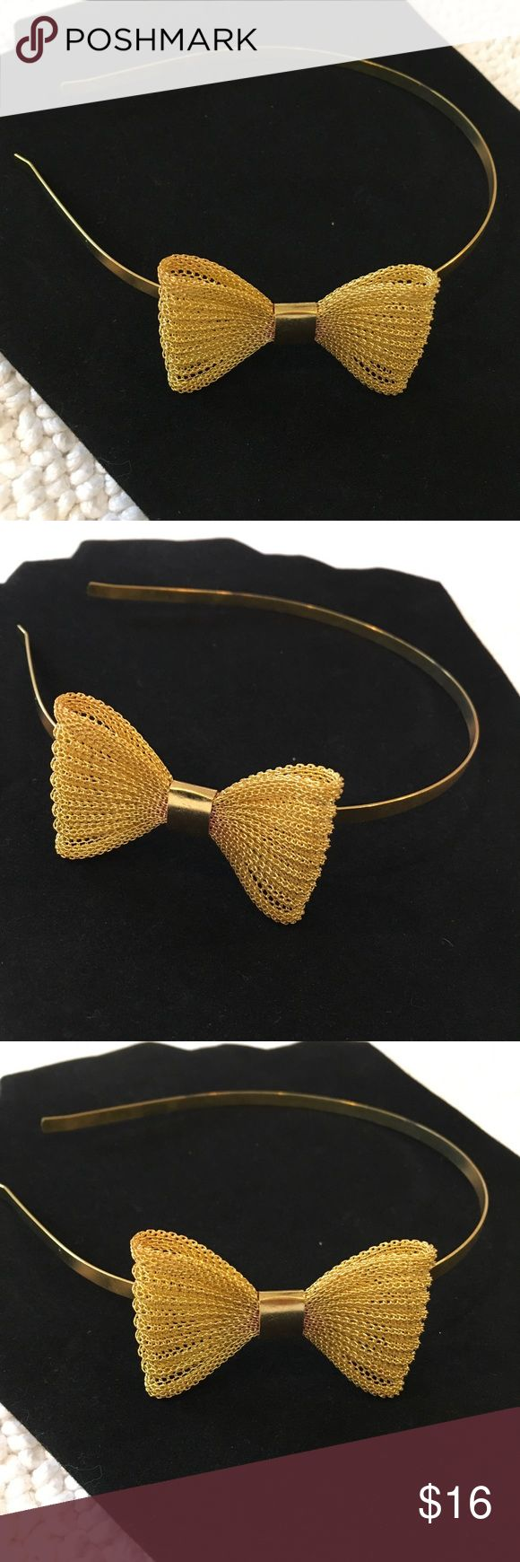 """Gold tone Metal Headband mesh styled bow (AB3) Metal Headbands gold toned w/ metal mesh styled bow on side  Dimensions/Measurements: bow measures 2 ¼"""" x 1 ½"""" New with Tags. The pictures you see are of the exact item you will receive. Accessories Hair Accessories"""