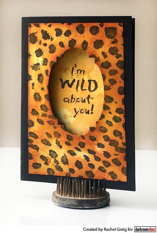 Window aperture card by Rachel Greig using Darkroom Door Cheetah Background Stamp and  Sizzix Dies.