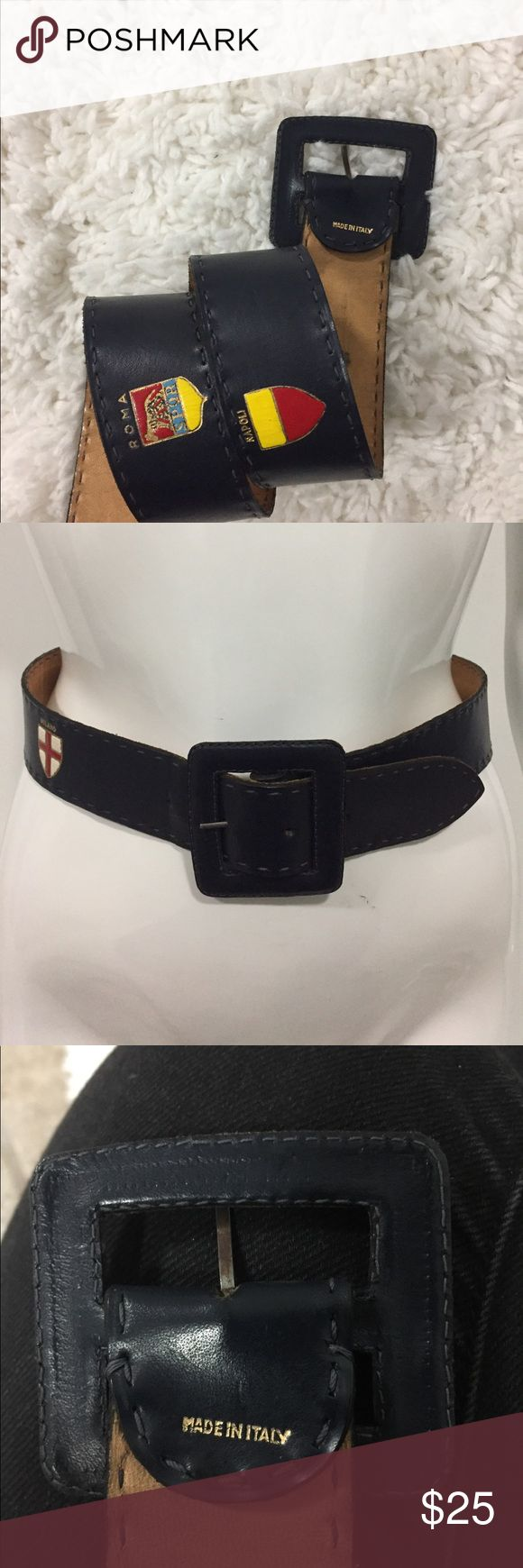 Vintage leather belt size small flags blue Vintage leather belt size small Made in Italy Roma Milano Firenze Napoli Accessories Belts