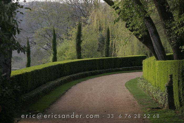 Eyrignac.  Driveway landscaping idea.