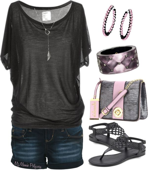 Easy spring / summer outfit !  would not do the pink but maybe a purple or blue.