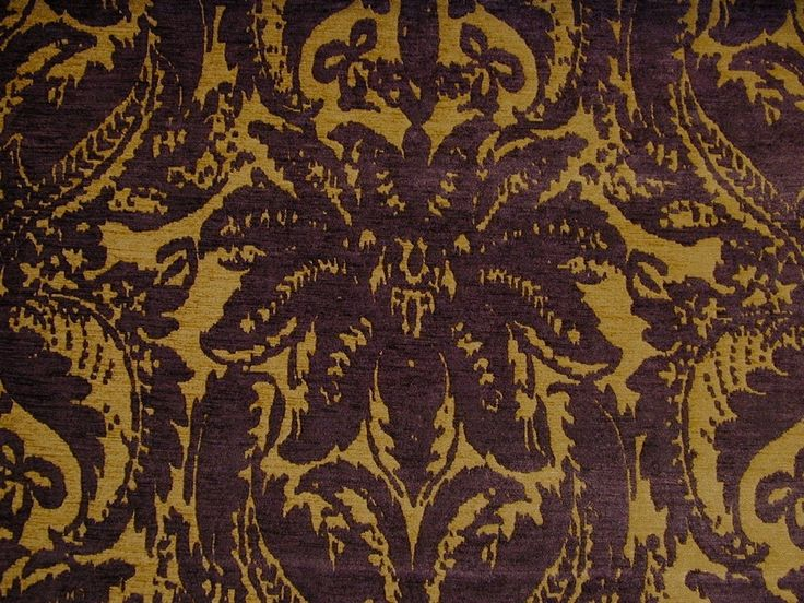 Regency Gold Aubergine Chenille Jacquard Upholstery Fabric