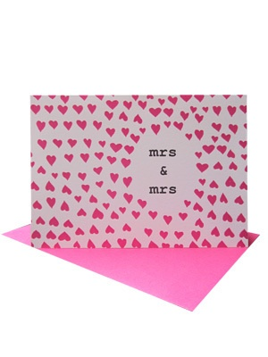 Mrs & Mrs Love Heart Wedding or Civil Ceremony Card   Congratulate the lovely ladies on their wedding day with our Mrs & Mrs Love Hearts Wedding Card.    Blank inside for your own message.    Size A6 #gaymarriage #gaywedding #femalewedding