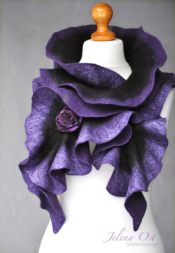 FREE SHIPPING -- Hand felted scarf --- merino wool --- handmade art --- black purple violet by ShellenD on Etsy