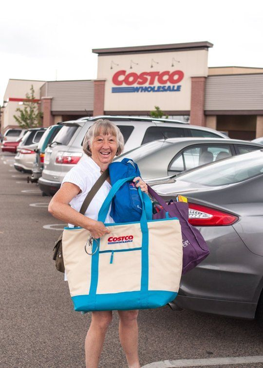 Woman in front of Costco