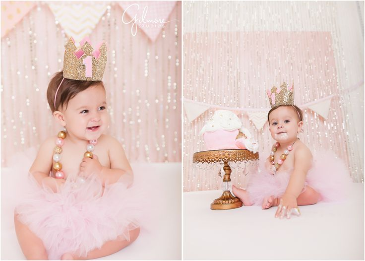 Ella's Cake Smash! 1st Birthday Portrait Session - Newport Beach Baby Photographer, CA, Cali, California, Pink Glitter, Light Pink, Pale Pink, Pastel Pink, Cake Stand, Golden Crown, First Birthday, Gold and Pink Necklace, Pink Tutu, Pink and White Cupcake Cake, Giant Cupcake, Girly, Princess, Baby Girl, Cute, Adorable, Precious, Messy, Smiley, Laughter, Darling GilmoreStudios.com